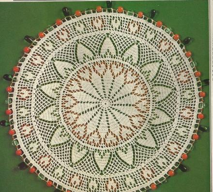 Beaded Hearts Mat from Magic Crochet #55