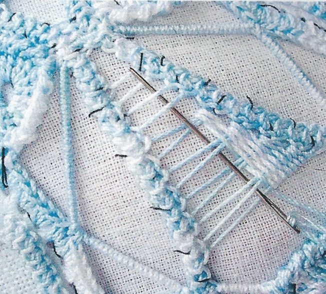 Close up of needle lace stitch blue & white Anna 0307