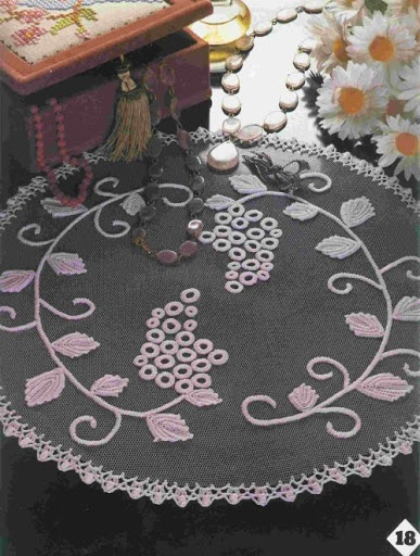Crochet lace on tulle