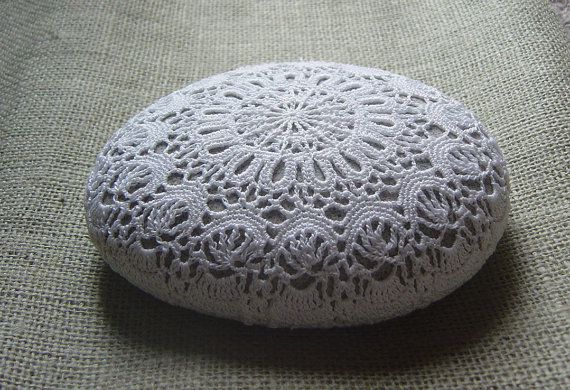 Crochet lace work on stone