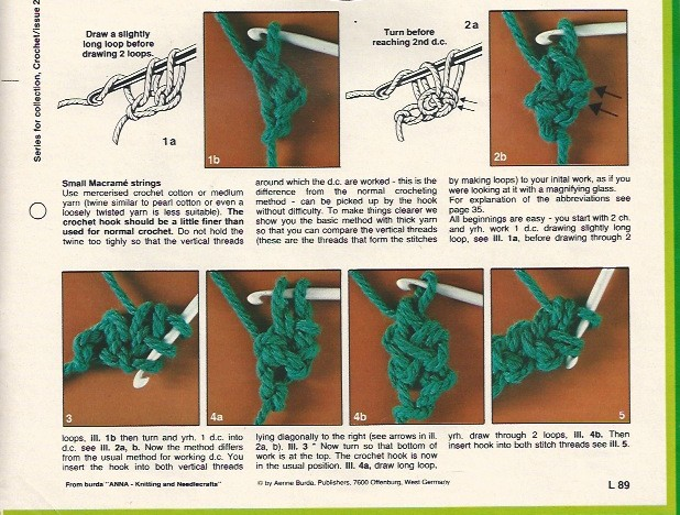 These instructions for the basic crochet braid are written in UK terms.  D.C. (double-crochet) in UK terms is the same as S.C. (single-crochet) in U.S. terms.