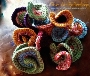 hyperbolic crochet sculpture northern lights annotated