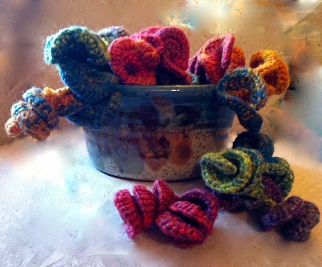 crochet art in a bowl: Fiber Art Reflections