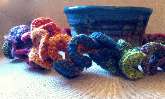 Crochet bowl close up