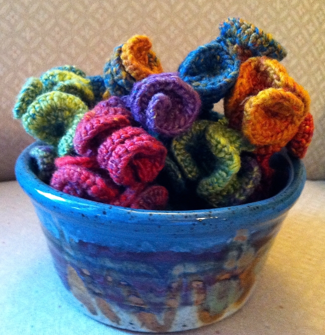 crochet rope sculpture in a bowl