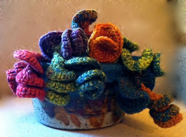 crochet art sculpture in a bowl: Fiber Art Reflections