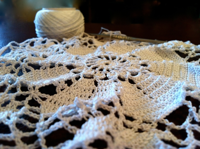 Close up of lace crochet project: Fiber Art Reflections