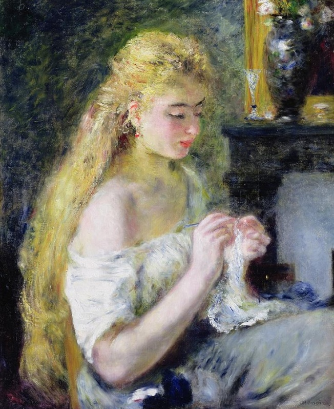"""A Girl Crocheting by Renoir: Fiber Art Reflections"