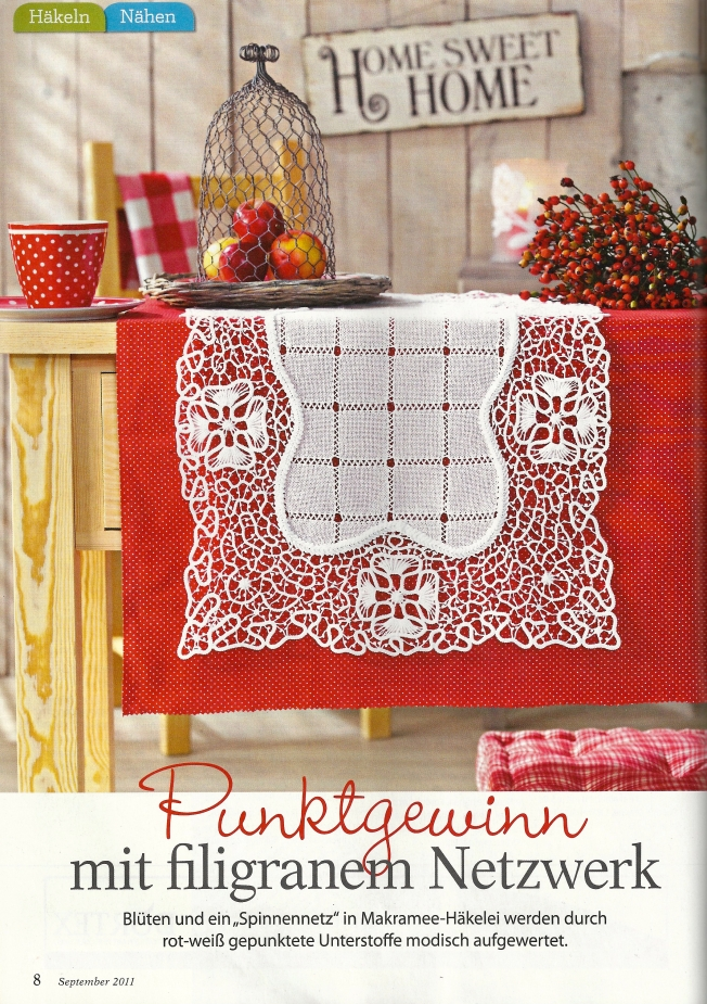 Romanian Point Lace Table Runner from Lena, September 2011: Fiber Art Reflections