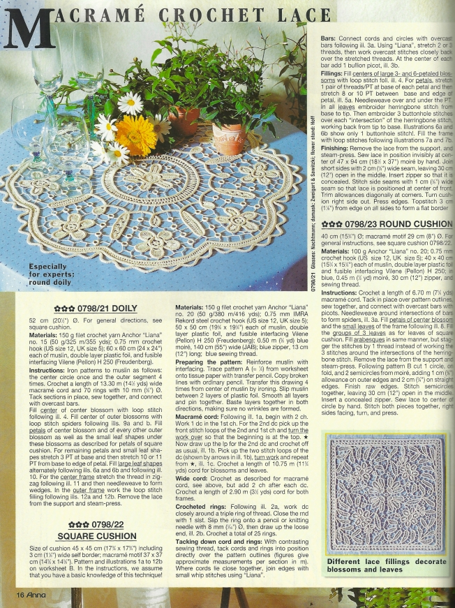 Anna Burda July 1998 - Round Mat in Macramé Crochet Lace: Fiber Art Reflections