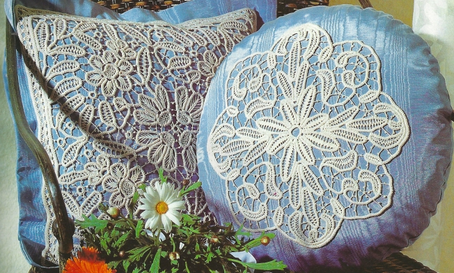 Anna Burda July 1998 - Macramé Crochet Lace - close up of pillow cushions: Fiber Art Reflections
