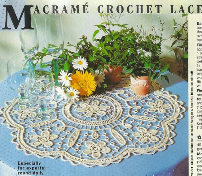 Macramé Crochet Lace round mat: Fiber Art Reflections