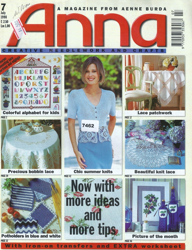 Cover Anna Burda July 1998: Fiber Art Reflections