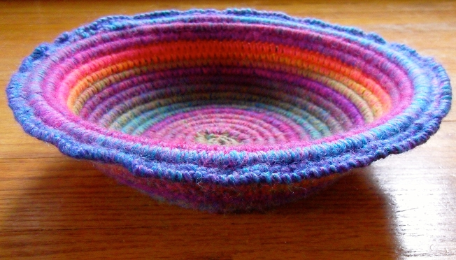Crocheting Over Wire : Crochet Coiled Basket Experiment Fiber Art Reflections