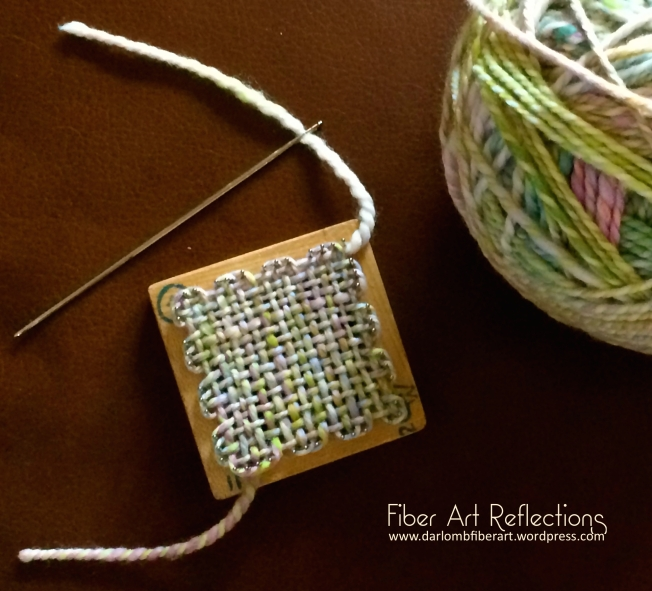 Fiber Art Reflections: Woven 2-Inch Pin Loom Square