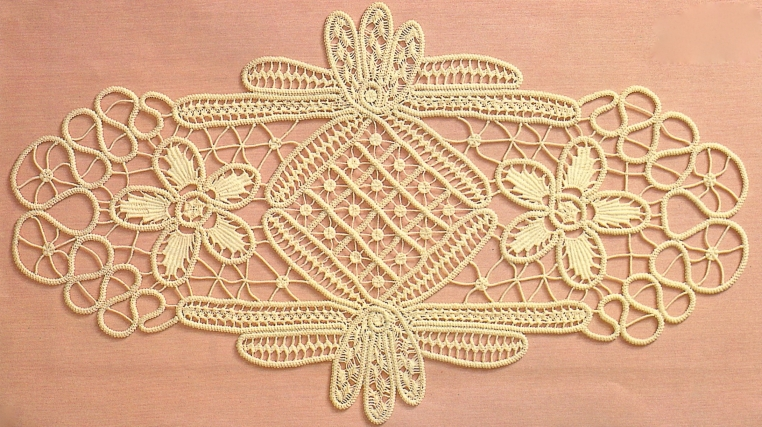 Fiber Art Reflections: Anna Burda January 1990 oval Romanian Point Lace Crochet mat