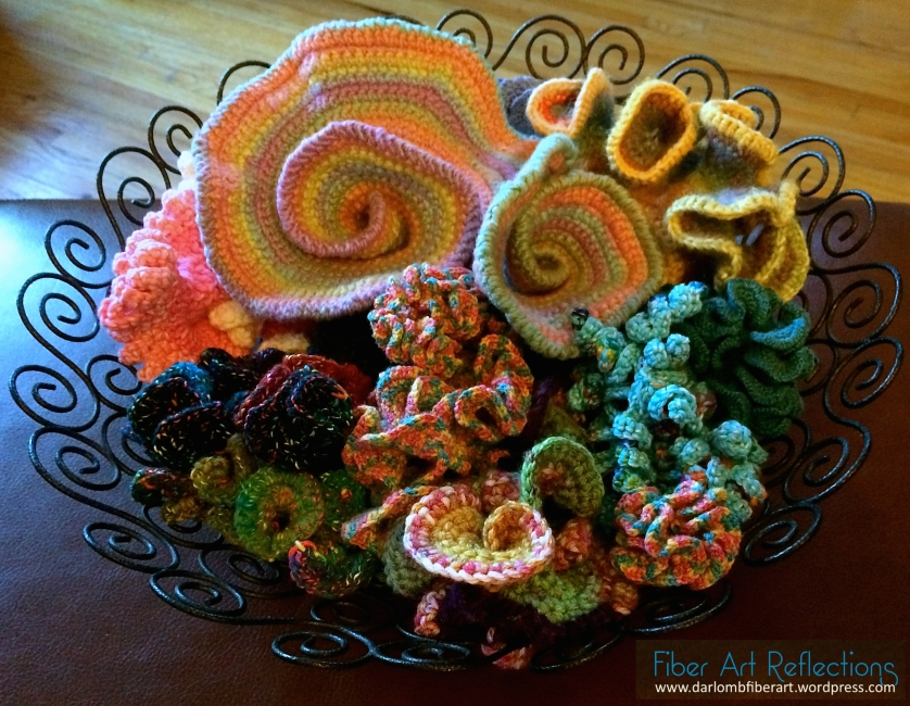 Hyperbolic & freeform crochet in a wire bowl