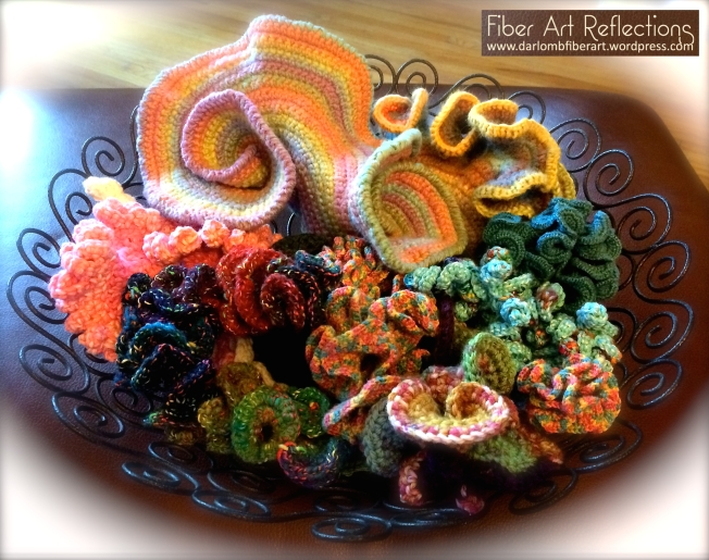 hyperbolic crochet wire bowl display with tag