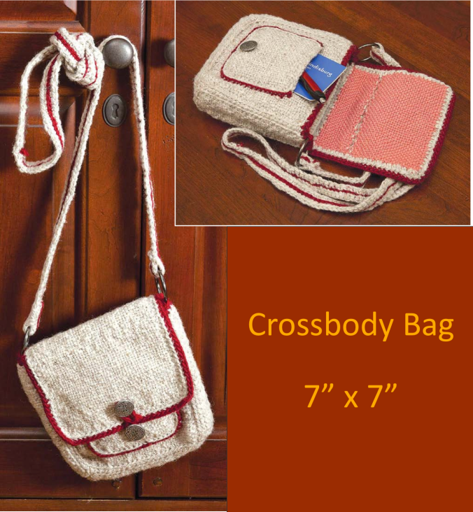 Cross body bag from Pin Loom Weaving by Margaret Stump