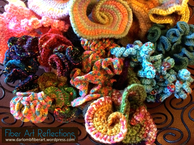 hyperbolic crochet items in wire bowl with tag