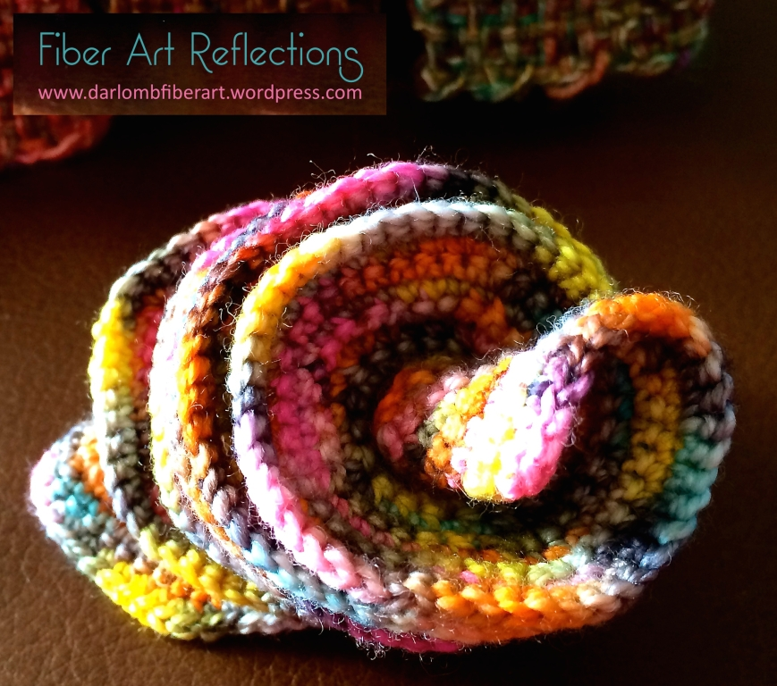 Hyperbolic Crochet in an expanding spiral form, using Koigu sock yarn
