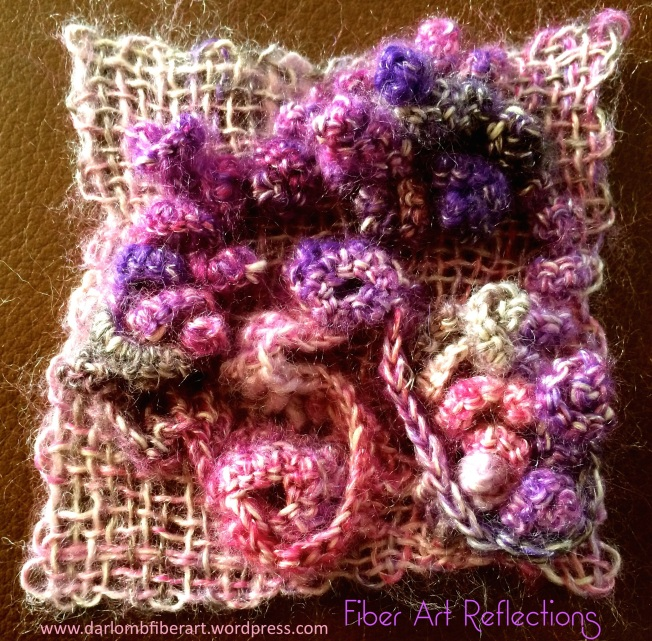 Fiber Art Reflections: Freeform crochet into a woven pin loom square