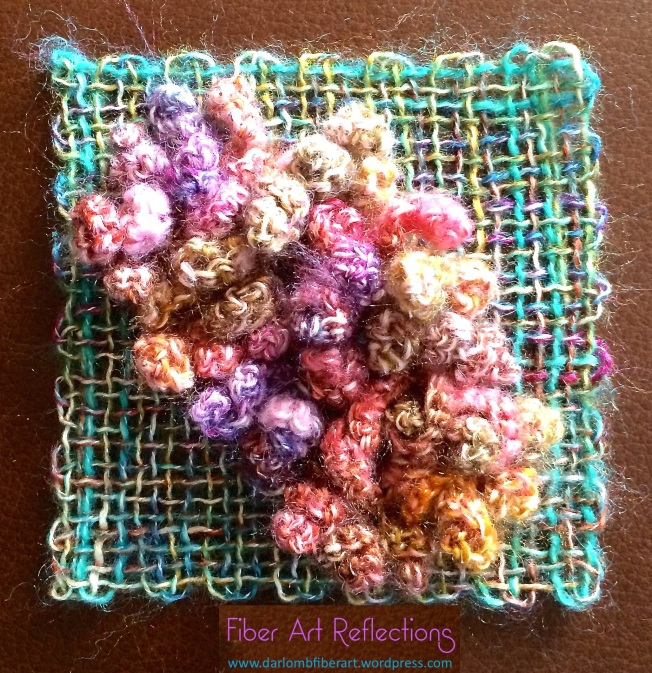 Fiber Art Reflections: Freeform crochet with woven pin loom square