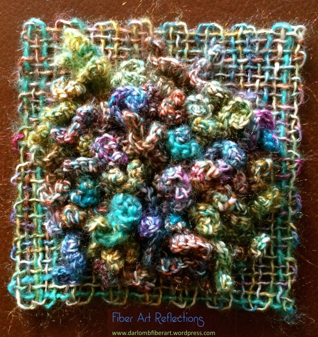 Fiber Art Reflections: Freeform crochet and woven pin loom square