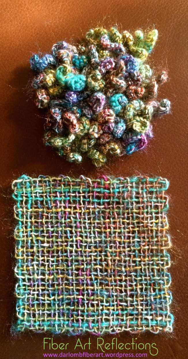 Fiber Art Reflections: Combining freeform crochet and pin loom weaving using the same yarn