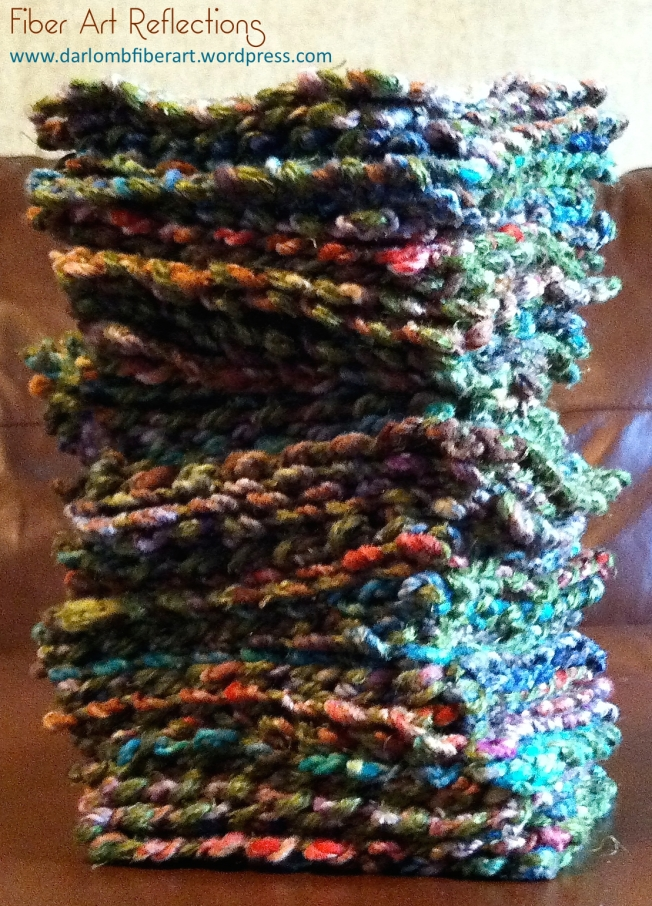 Fiber Art Reflections: Stack of pin loom squares